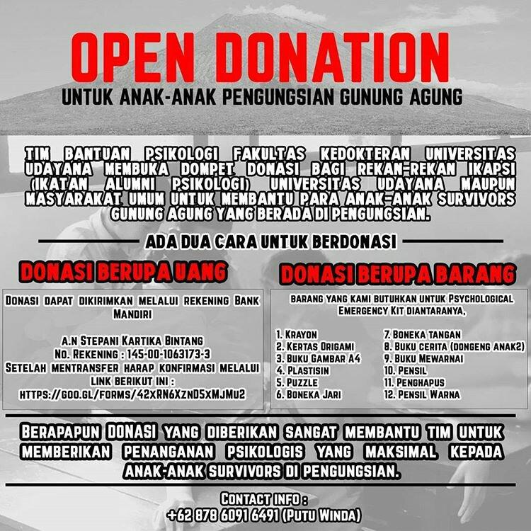 Share informasi Donasi Bantuan Psikologi untuk Anak Survivor Gunung Agung
